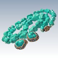 Chinese Export Suite Natural Turquoise Sterling Silver Enameled Filigree Necklace Earrings circa 1940s
