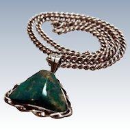 Rare Early Sigi Pineda Plateros Sterling Silver Chrysocolla Pendant 950 Silver Chain Mexico c1950s