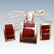 Modernist Suite Inlaid Red Jasper Sterling Silver Pendant Earrings Chain c1980's