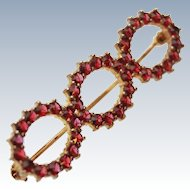 Antique Bohemian Garnet 10K Gold Brooch Pin c1915