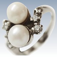Antique 18K W.G. Hanadama Pearl Old European Diamond Ring c1930s