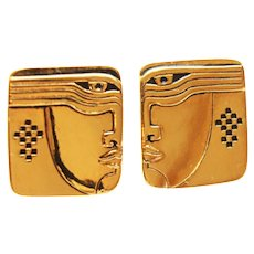 "RARE MINT Early Laurel Burch 22K GP ""Ancients"" Post Earrings c1977"