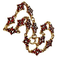 175 Antique Bohemian Garnet 10K Gold Bracelet Pin c1915