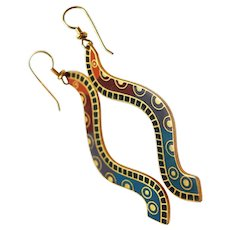 "RARE Early Large Laurel Burch 22K GP ""PIMA"" Snake French Wire Earrings c1977"
