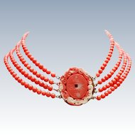 Art Deco Natural Coral Chinese 4 Strand Necklace Pierced Carved Coral Pendant 925 Silver c1930s