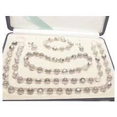 """True """" Pools of Light """" Antique 5 Piece Suite Sterling Silver Floral Wrap Necklace Choker Bracelet and Screw-back Ear Rings c1910"""