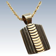 Navajo 14K Gold 925 Silver Chevron Pendant &14KGF Chain MM Rogers c1993