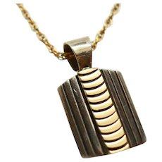 MM Rogers 14K Gold 925 Silver Navajo Chevron Pendant & 14KGF Chain  c1993