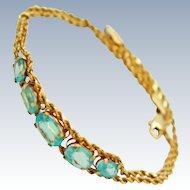 Vintage Blue Topaz 10G Double  Rope Chain Bracelet c 1970s