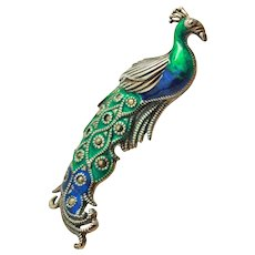 Large Enameled Peacock Sterling Silver 925 Marcasite Brooch Pin c1940s