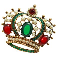 Book Piece  MINT Weiss  Figural Crown Brooch Faux Pearl Ruby Emerald Glass Gold Tone c1950s