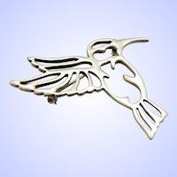 Early Scott Kay Sterling Silver Open Work Humming Bird Brooch Pin c1990s