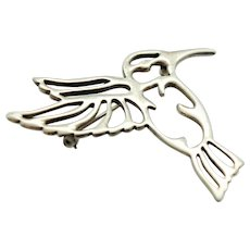 Early Scott Kay Sterling Silver Open Work Humming Bird Brooch Pin c1990s