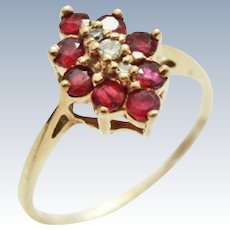 Vintage Ruby Diamond Pointed Cluster 10KPlumb Gold Ring c1980s