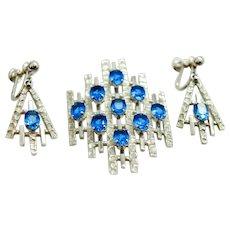Van Dell Suite Art Deco Style Sterling Silver Sapphire Glass Pendant Screw-Back Earrings c 1970s