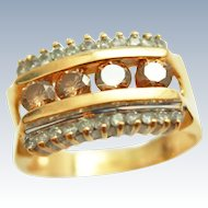 Signed Carlo Giuliano Renaissance Revival Style OEC Natural Fancy Champagne &White Diamonds 14K Gold Ring circa 1880 -1912
