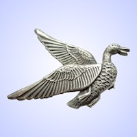 Sterling Silver Figural Migrating Duck Brooch Pin c1960s.