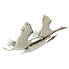 Sterling Silver Figural Migrating Geese Brooch Pin c1940s