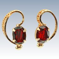 Sorrento Oval Garnet 12K GF Screw back Earrings c1940s