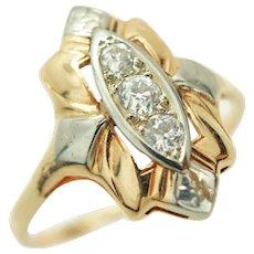 Art Deco 14K Y&W Gold Old European Cut Diamonds c1920s