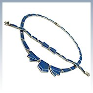 Art Deco Suite Lapis Lazuli 970 Fine Silver Hinged Collar Necklace Bracelet c1940s