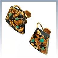 22K Gold Turquoise Flakes Lucite 12K GF Screw Back Earrings c1930s