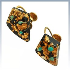 22K Gold Turquoise Flakes Lucite 12K GF Screw Back Earrings c1930s