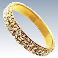 Mid Century Gold Plate Rhinestone Bangle Bracelet