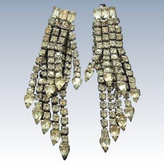 Mid Century 3 1/3 Inch Shoulder Dusters Rhinestone Earrings c1950s