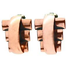Renoir Copper Mid Century Modern Clip Earrings c1950s