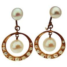 Victorian Natural Pearl 14K Gold Screw Back Earrings c 1890