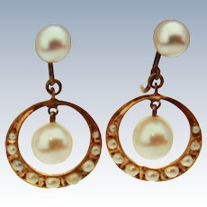 Victorian Natural Pearl 14K Gold Screw Back Earrings c 1890