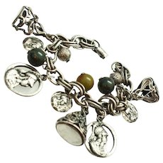 Early Coro Original Charm Bracelet Minerva Bakelite Silver Tone c1930 -1939
