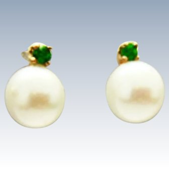 14K Gold Cultured Akoya Pearl Tsavorite Garnet Post Earrings c1960s