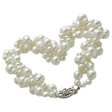 Art Deco 14k White Gold Hanadama Cultured Akoya Pearl Bubble Bracelet c1940s