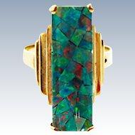 Art Deco Natural Harlequin Mosaic Opal 10K Gold Ring c1930 -1940s