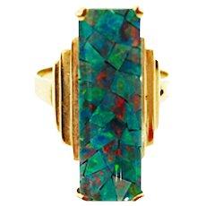 Art Deco Natural Harlequin Mosaic Opal 10K Gold Ring c1930 -1940s - Red Tag Sale Item