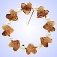 Edwardian14K Rose Gold Natural Pearls Krementz Brooch Pin c1910