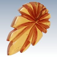 Large Translucent Apple Juice Bakelite Carved Figural Leaf Dress Clip  c1930s