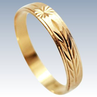 18K YG Ring Wedding Band Wheat Star Motif c1940-1950