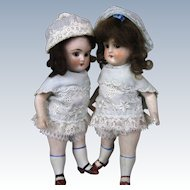 "Pair of All Bisque 7"" German Sister Twin Antique Dolls"