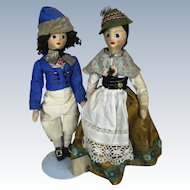 Vintage Pair Bavarian Stockinette Face Cloth Dolls