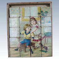 Antique Lithograph Victorian Wood Block Puzzle Block Set circa 1890