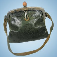 Antique Green Leather Doll Purse with Peach Stone Decoration