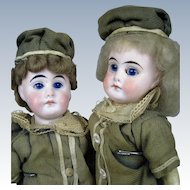 "All Original Pair of 10"" German Belton Type Bisque Head Dolls ~ Matching Outfits"
