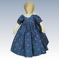 Small Antique Cloth Rag Doll Litho Face ~ Cobalt Blue Calico Dress