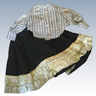 Antique Doll Skirt and Blouse