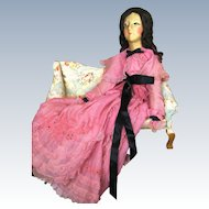 Vintage 1920s Silk Masked Face Boudoir Doll Bed Doll