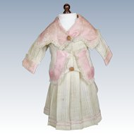 Antique Doll Dress ~ Skirt & Jacket, Pink Floral Silk