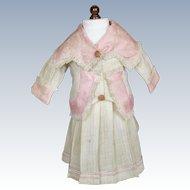 Antique Doll Dress ~ Skirt & Jacket, Pink Floral Silk